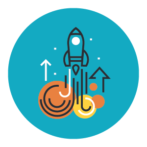 targeted message icon with rocket